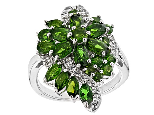 Photo of 2.84CTW Mixed Shapes Russian Chrome Diopside with .34ctw white zircon Rhodium Over Silver Ring - Size 7