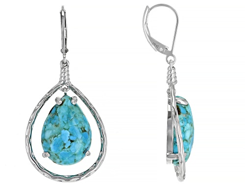 Photo of 18x13mm Pear Shape Cabochon Turquoise Rhodium Over Silver Dangle Earrings