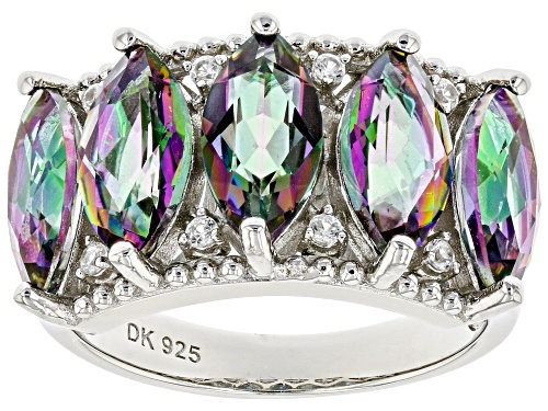 Photo of 3.83ctw Marquise Multi-Color Quartz and .07ctw Zircon Rhodium Over Silver Band Ring - Size 8