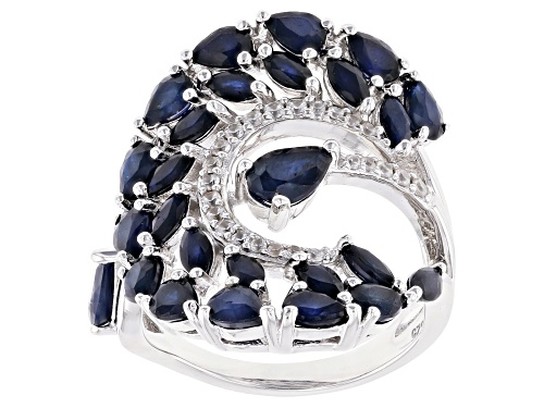 Photo of 4.31CTW BLUE SAPPHIRE WITH 0.16CTW WHITE ZIRCON RHODIUM OVER STERLING SILVER RING - Size 8