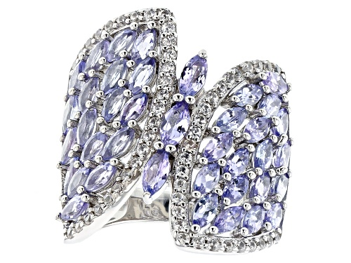 Photo of 2.68ctw Marquise Tanzanite with .52ctw Round White Zircon Rhodium Over Sterling Silver Ring - Size 8