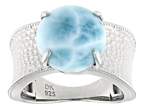 Photo of 12mm Round Cabochon Larimar Rhodium Over Sterling Silver Solitaire Ring - Size 7