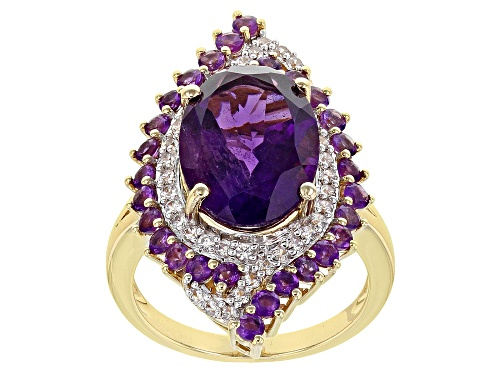 Photo of 5.97ctw Oval and Round African Amethyst with 0.34ctw Zircon 18k Yellow Gold Over Silver Ring - Size 8