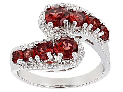 Photo of 2.25ctw Round Vermelho Garnet(TM) Rhodium Over Sterling Silver Bypass Ring - Size 7