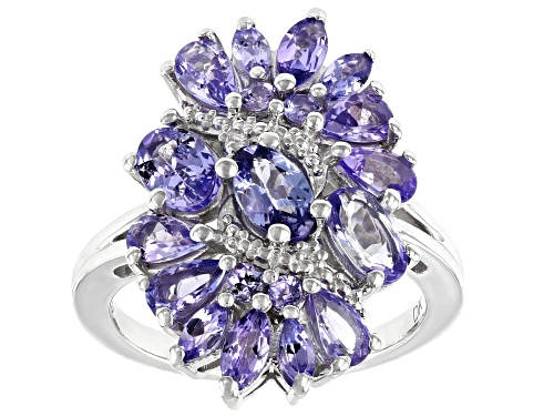 Photo of 2.81ctw Mixed Shape Tanzanite Rhodium Over Sterling Silver Cluster Ring - Size 8