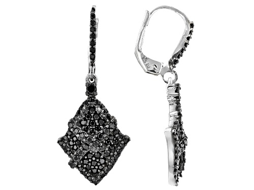 Photo of 1.09CTW ROUND BLACK SPINEL RHODIUM OVER STERLING SILVER DANGLE EARRINGS