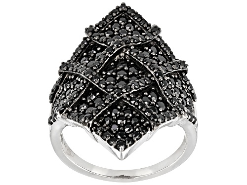 Photo of 1.18CTW ROUND BLACK SPINEL RHODIUM OVER STERLING SILVER RING - Size 7