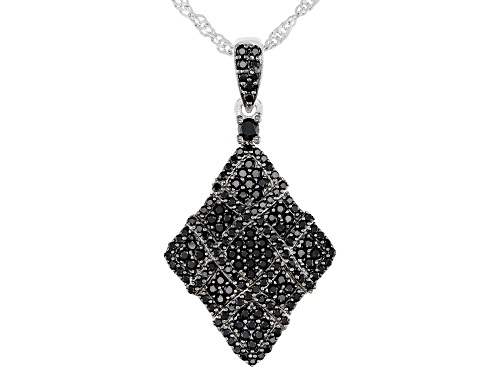 Photo of 1.34CTW ROUND BLACK SPINEL RHODIUM OVER STERLING SILVER PENDANT WITH CHAIN