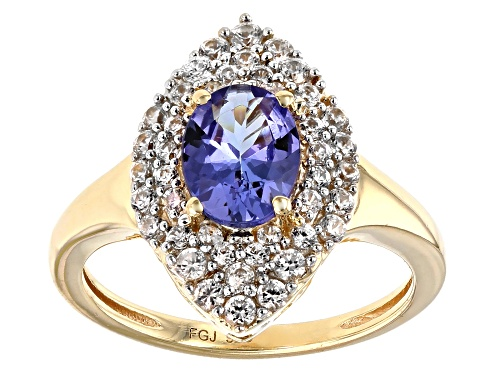 Photo of 1.00CT OVAL TANZANITE WITH .52CTW WHITE ZIRCON 18K YELLOW GOLD OVER STERLING SILVER RING - Size 7