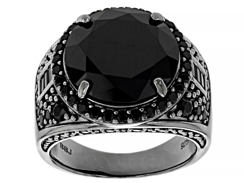 Photo of 9.90ctw Round and .14ctw Baguette Black Spinel, Black rhodium over sterling silver Ring - Size 7