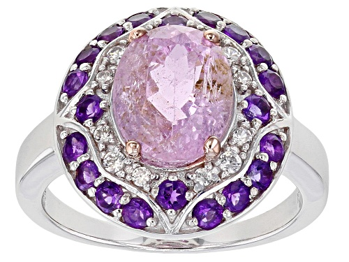 Photo of 2.77ct Oval Kunzite with .60ctw African Amethyst & .13ctw White Zircon Rhodium Over Silver Ring - Size 8