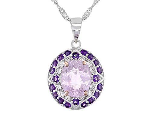 Photo of 2.77ct Kunzite with .60ctw African Amethyst & .13ctw White Zircon Rhodium Over Silver Pendant/Chain