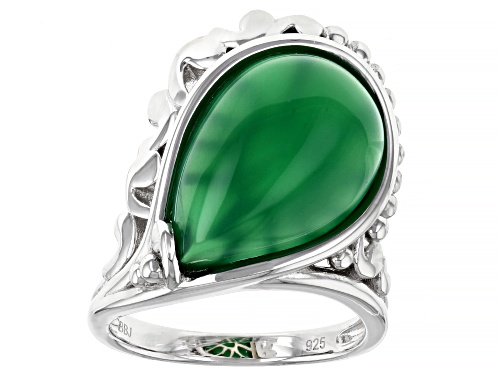 Photo of 18x12mm Pear Shape Cabochon Green Onyx Rhodium Over Silver Solitaire Ring - Size 7