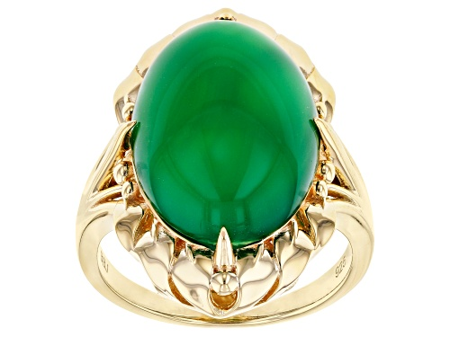 Photo of 18x13mm Oval Green Onyx 18k Yellow Gold Over Sterling Silver Solitaire Ring - Size 7