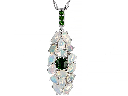 Photo of 1.53ctw Ethiopian opal with .61ctw chrome diopside rhodium over sterling silver pendant with chain