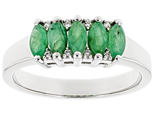 Photo of .64ctw Marquise Zambian Emerald and .34ctw Zircon Rhodium Over Sterling Silver Band Ring - Size 8