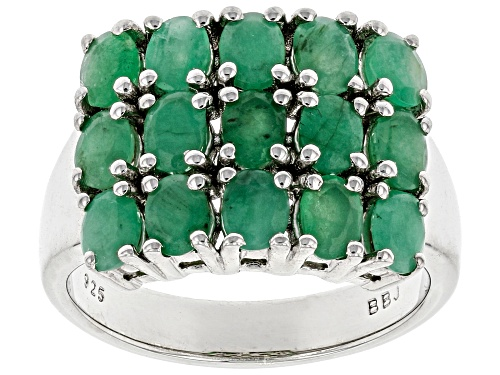 Photo of 2.04ctw Oval Zambian Emerald Rhodium Over Sterling Silver Cluster Band Ring - Size 7