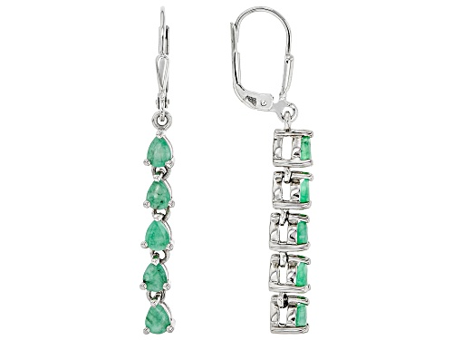 Photo of 1.19ctw Pear Shape Zambian Emerald Rhodium Over Sterling Silver Drop Earrings