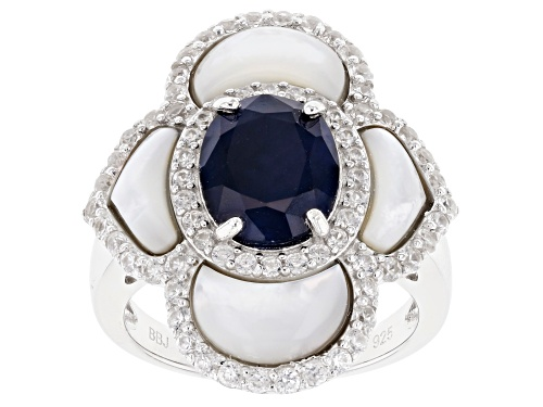 Photo of 2.72ct Oval blue sapphire with Mother of Pearl and 1.32ctw zircon rhodium over silver ring - Size 7