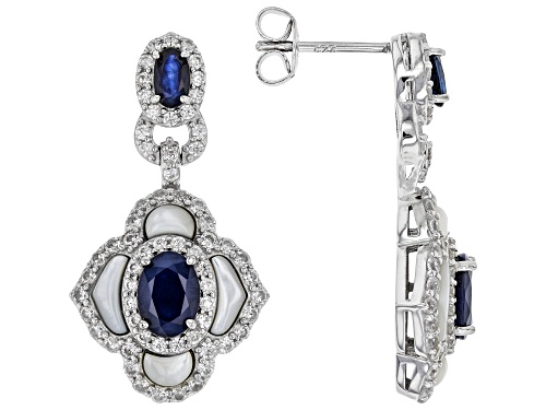 Photo of 2.00ctw Blue Sapphire, Freshwater Mother-of-Pearl & 2.00ctw Zircon Rhodium Over Silver Earrings