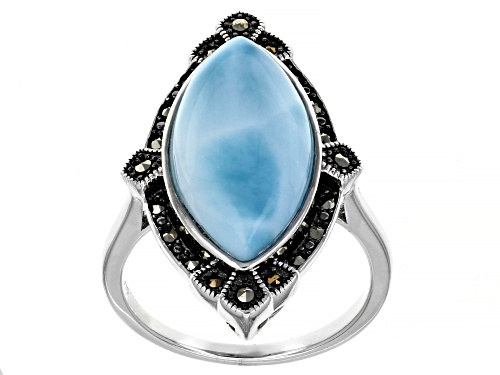 Photo of 20x10mm Marquise Larimar and Marcasite Rhodium Over Sterling Silver Ring - Size 8