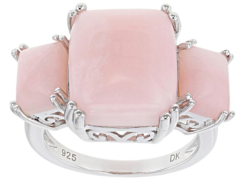 Photo of 14x12mm and 8x6mm Rectangular Cushion Pink Opal Rhodium Over Sterling Silver 3-Stone Ring - Size 7