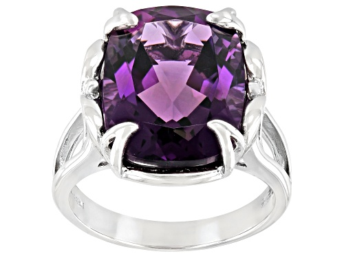 Photo of 7.92ct Rectangular Cushion African Amethyst Rhodium Over Sterling Silver Ring - Size 8