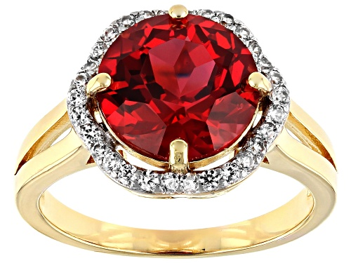 Photo of 4.17ct Lab Created Padparadscha Sapphire with .23ctw White Zircon 18k Yellow Gold over Silver Ring - Size 8