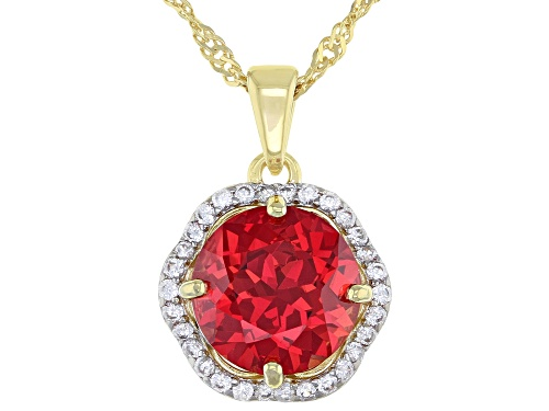 Photo of 4.17ct Lab Padparadscha Sapphire with .28ctw Zircon 18k Yellow Gold over Silver Pendant W Chain