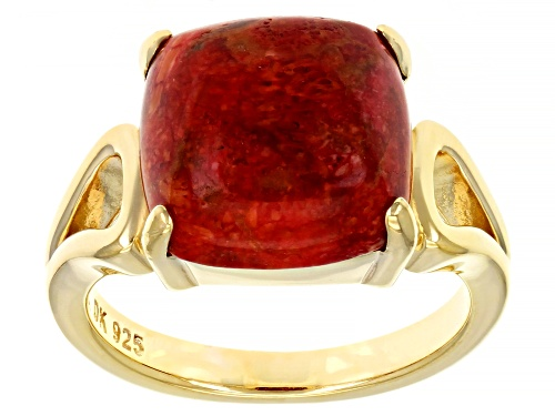 Photo of 12mm Square Cushion Red Sponge Coral 18k Yellow Gold Over Sterling Silver Ring - Size 8