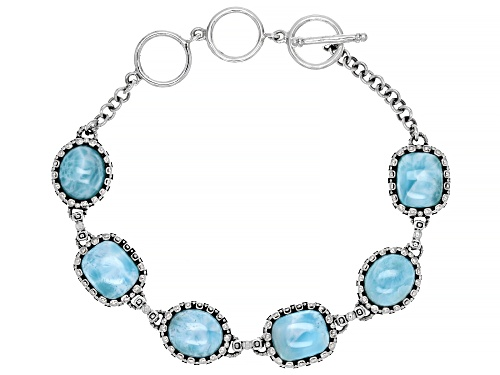 Photo of 11x9mm Oval and 11x9mm Rectangular Cushion cabochon Larimar Rhodium Over Silver Toggle Bracelet - Size 7.25