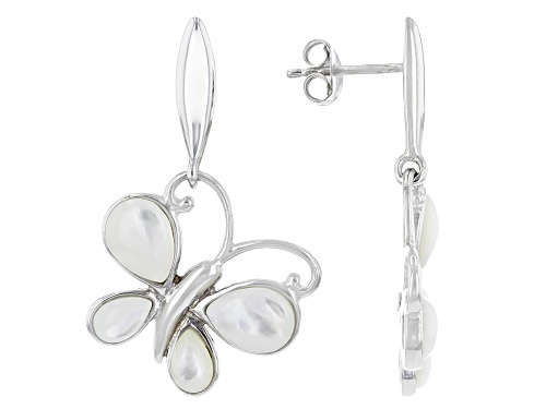 Photo of Pear Shape Mother-of-Pearl Rhodium Over Sterling Silver Butterfly Dangle Earrings