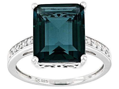 Photo of 6.46ct Emerald Cut Teal Fluorite and .25ctw Zircon Rhodium Over Silver Ring - Size 8