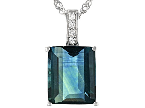 Photo of 6.46ct Emerald Cut Teal Fluorite and .12ctw Zircon Rhodium Over Silver Pendant With Chain
