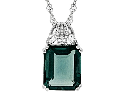 Photo of 5.95ct Emerald cut Teal Fluorite and .21ctw Topaz Rhodium Over Silver Pendant With Chain