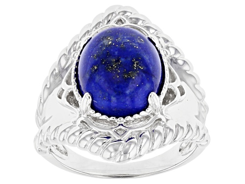 Photo of 12x10mm Oval Lapis Lazuli Rhodium Over Silver Solitaire Ring - Size 8