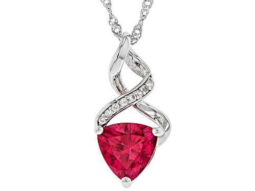 Photo of 2.13ct Trillion Lab Created Ruby and .12ctw Round Zircon Rhodium Over Silver Pendant With Chain