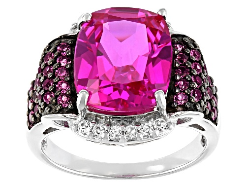 Photo of 7.07ctw Lab Pink Sapphire, Raspberry Color Rhodolite and White Topaz Rhodium Over Silver Ring - Size 7