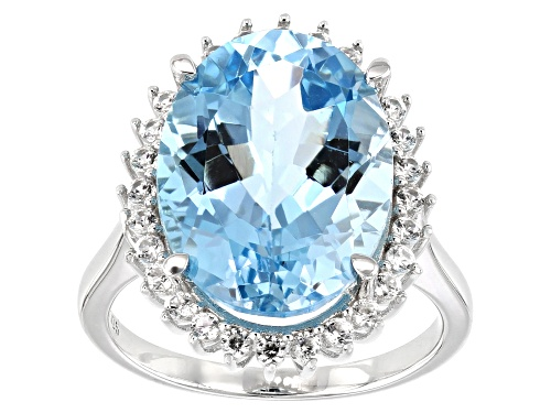 Photo of 10.20ct Oval Glacier Topaz™ with .48ctw Round White Zircon Rhodium Over Sterling Silver Ring - Size 8