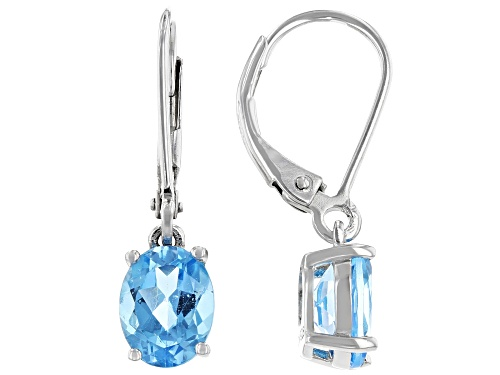 Photo of 2.72ctw Oval Swiss Blue Topaz Rhodium Over Sterling Silver Dangle Earrings