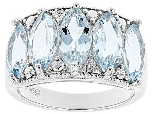 Photo of 4.35CTW MARQUISE AQUAMARINE & .01CTW  WHITE DIAMOND ACCENT RHODIUM OVER SILVER BAND RING - Size 8
