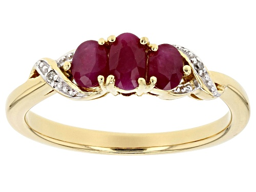 Photo of 0.68ctw Oval Burmese Ruby With .01ctw Round Two Diamond Accent 18k Gold Over Sterling Silver Ring - Size 8