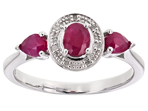Photo of .69CTW OVAL AND PEAR SHAPE BURMESE RUBY WITH .03CTW ROUND WHITE DIAMOND ACCENT STERLING SILVER RING - Size 9