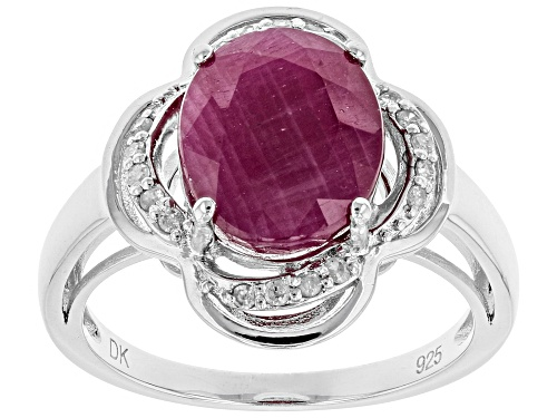 Photo of 4.25ct Oval Indian Ruby With Round White Diamond Accent Rhodium Over Silver Ring - Size 11
