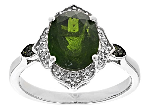 Photo of 2.85ct Russian Chrome Diopside With .09ctw Diamond Accent Rhodium Over Sterling Silver Ring - Size 7