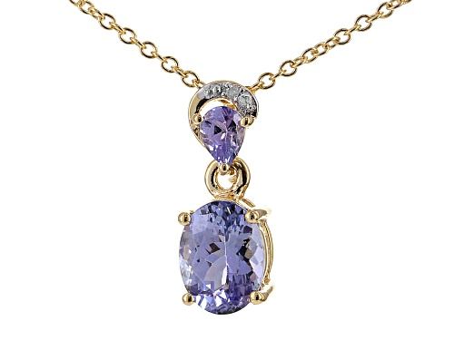 Photo of 1.20ctw oval & pear shape tanzanite, .01ctw 2 diamond accent 18k gold over silver pendant w/chain