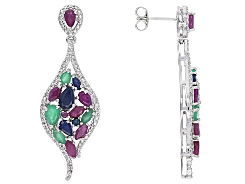 Photo of 5.41ctw ruby, emerald, blue sapphire & .10ctw white diamonds rhodium over silver dangle earrings