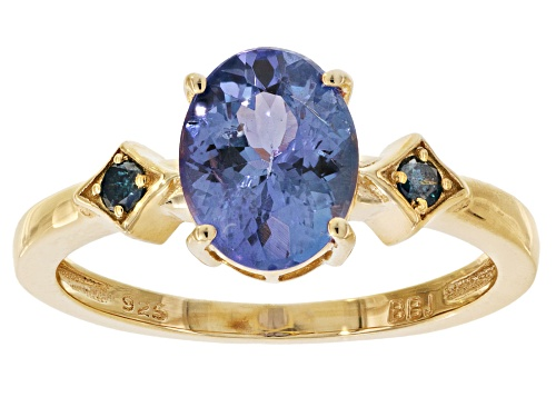 Photo of 1.45ct oval tanzanite and .06ctw round two diamond accent 18k gold over sterling silver ring - Size 10