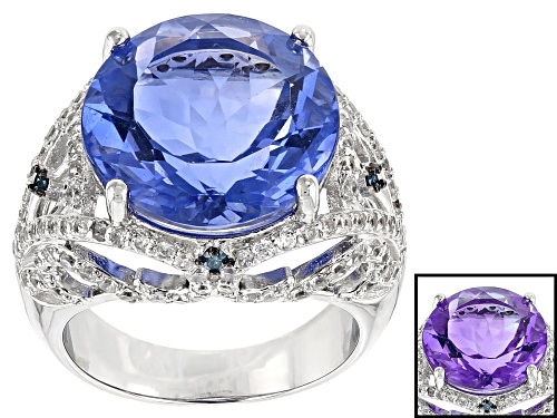 Photo of 13.60ct Color Change Fluorite, .05ctw Four Diamond Accent, & .52ctw Zircon Rhodium Over Silver Ring - Size 5