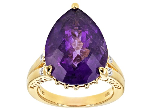 Photo of 10.20ct African amethyst with .02ctw white diamond 18k yellow gold over sterling silver ring - Size 5